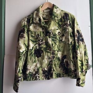 STUDIO WORKS Green Brown Floral Jean Jacket PETITE